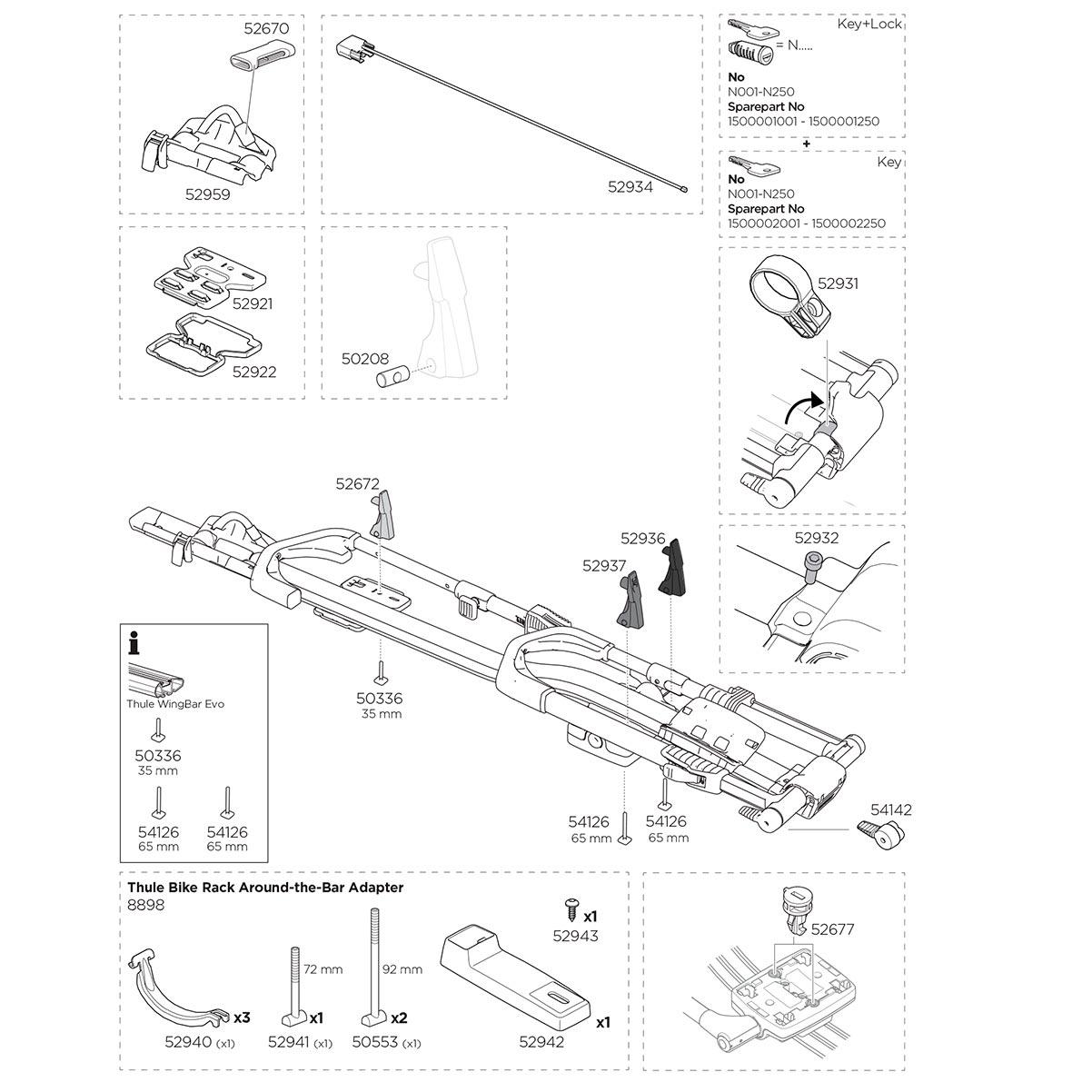 Велокрепление на крышу Thule UpRide 599 - Запасные части